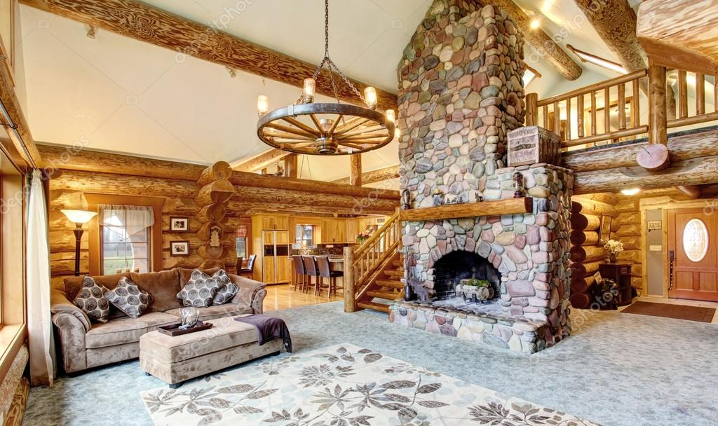 Bright Living Room Interior In American Log Cabin House Stockfoto New Bright Living Room Interior