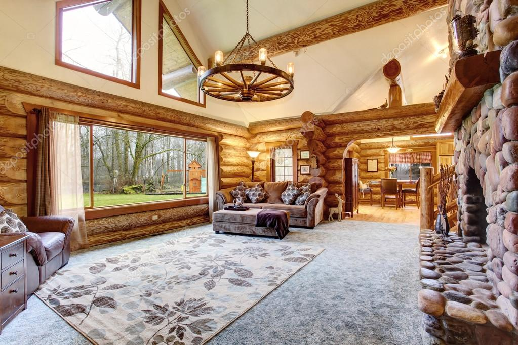 bright living room interior in american log cabin house ストック