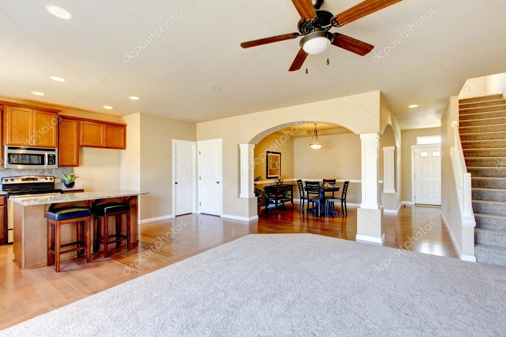 View Of Kitchen Dining Room And Entryway Stock Photo