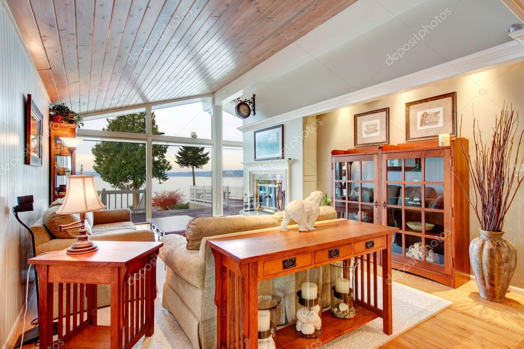 Sloped Wooden Ceiling Stock Photo, Awesome Living Room