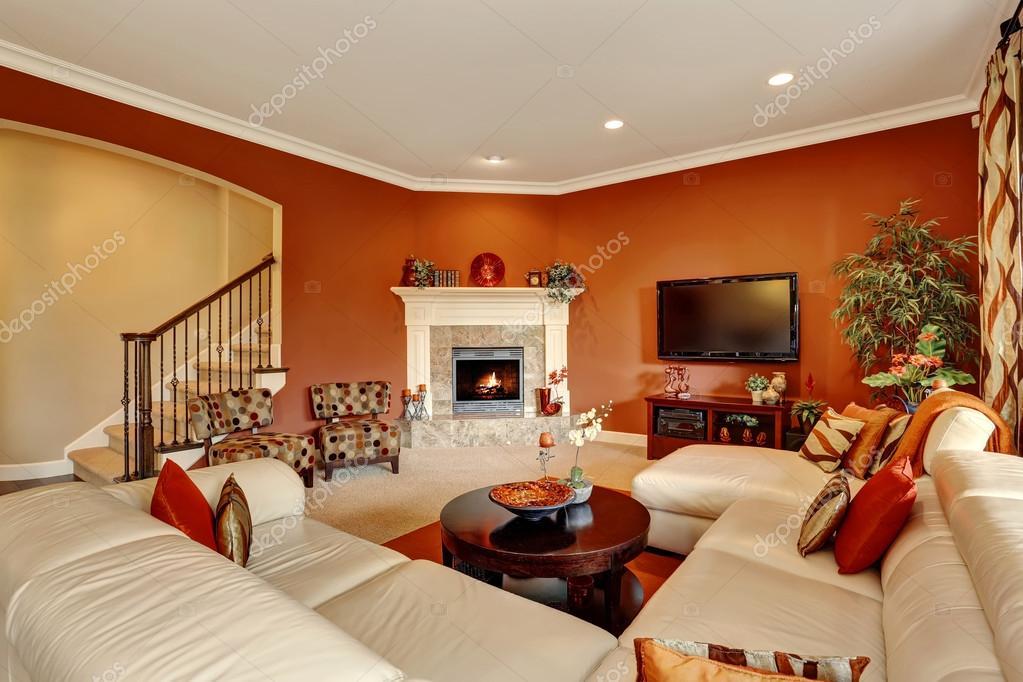 Roten Typisch Amerikanischen Familienzimmer Mit Grossen Sofa Set