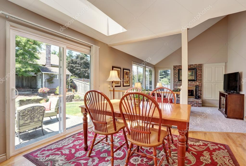 Traditional Dining Area Open Floor Plan Connected To Living Room