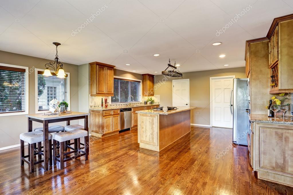 open floor plan kitchen room interior with island and granite