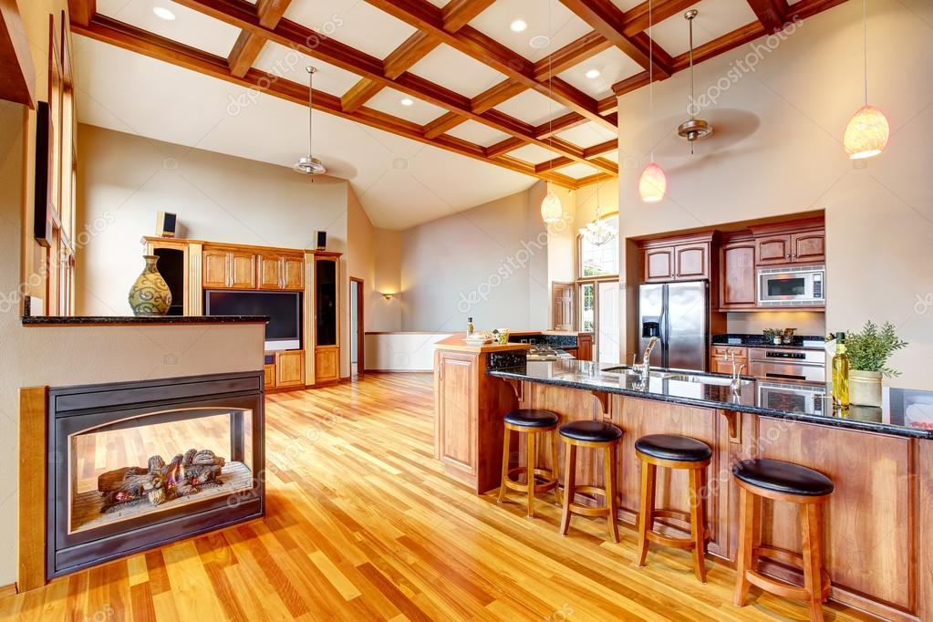Open Floor Plan Living Room Kithen And Dining Area With Hardwood Northwest USA Foto Von