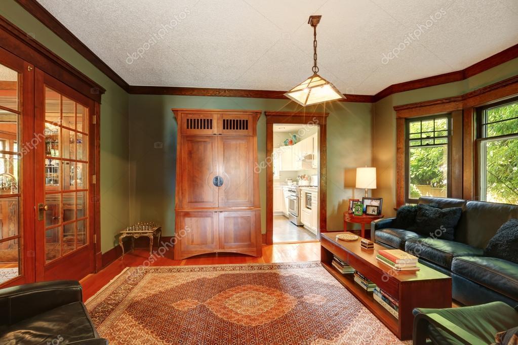 Traditionelle Wohnzimmer Interieur Mit Leder Sofa Set U2014 Stockfoto