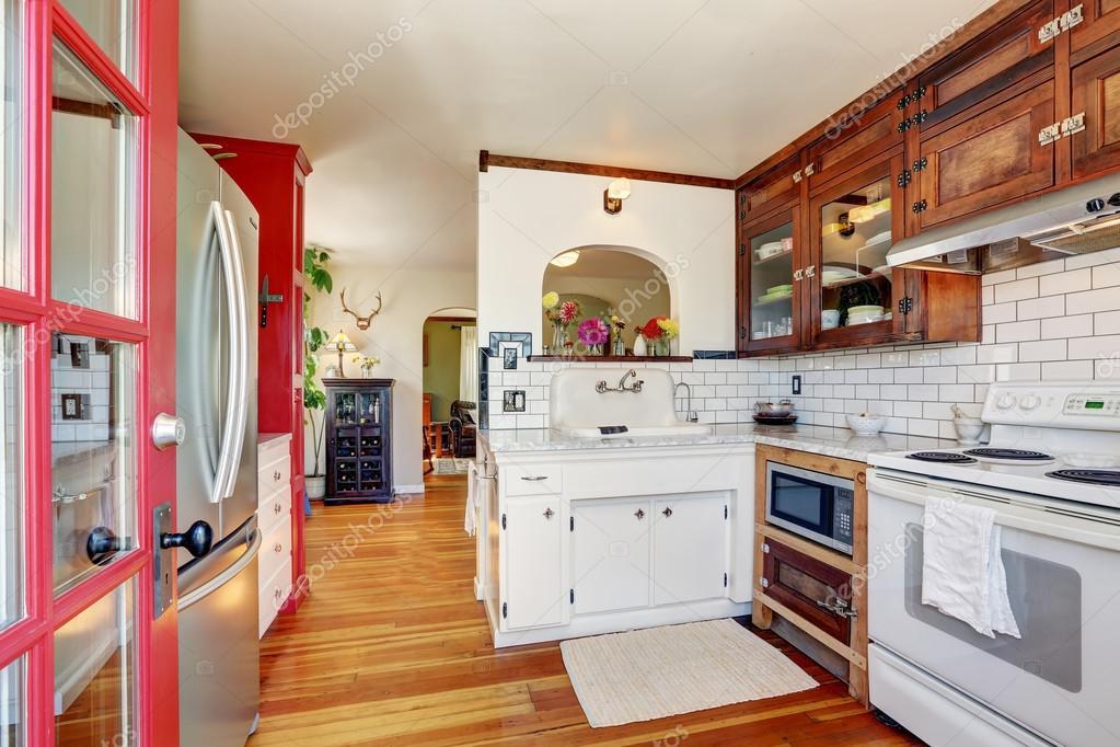 Vintage Kitchen Cabinets And White Tile Back Splash Trim Stock