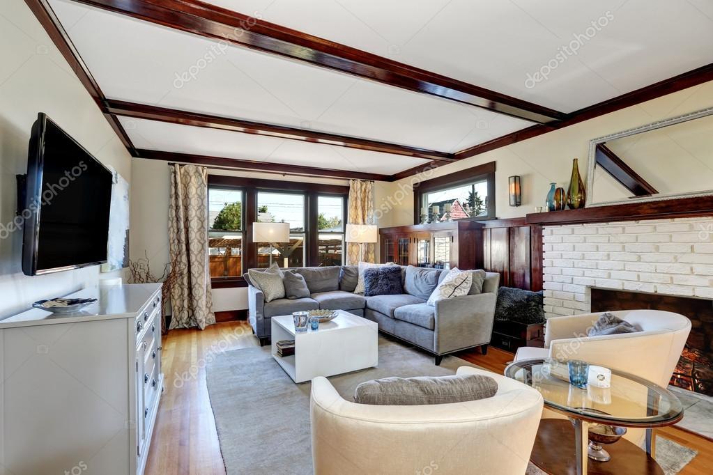 American Luxurious Living Room Interior In Grey And Brown Tones U2014  Fotografia De Stock