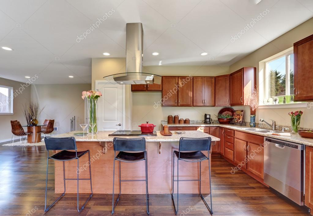 Traditional American kitchen featuring stainless steel appliances ...