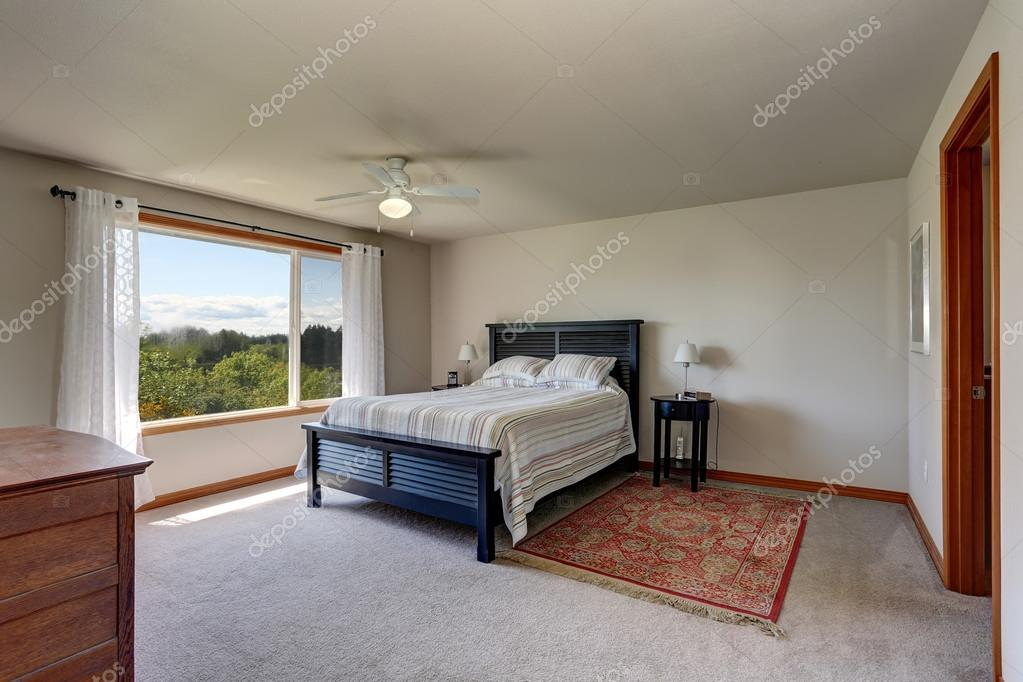 Bedroom Interior With Beige Walls, Rug And White Curtains U2014 Stock Photo