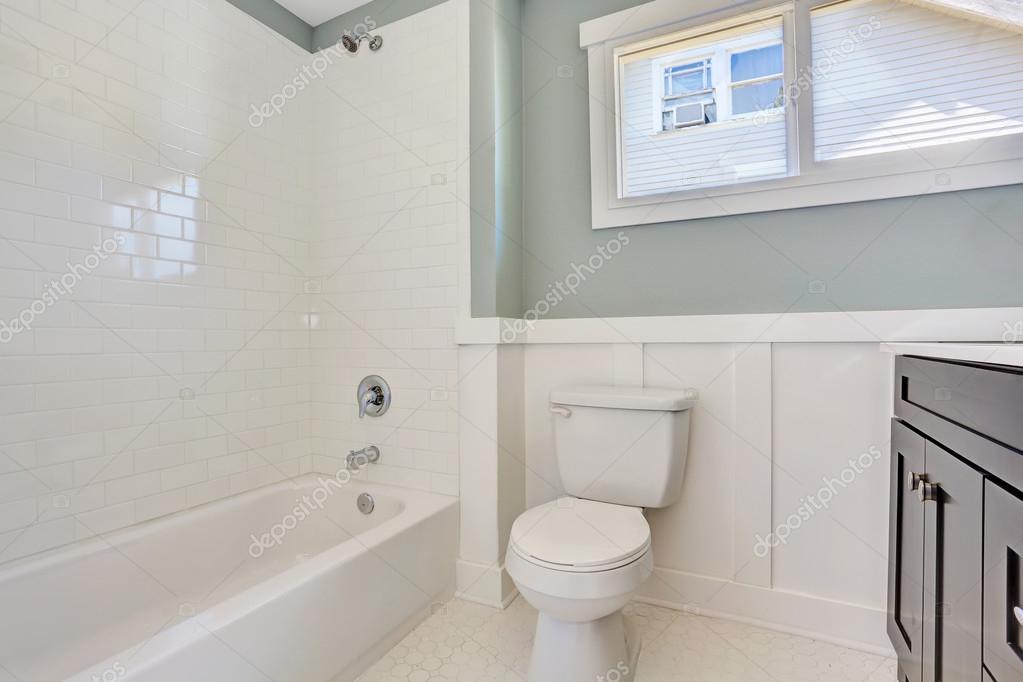검은 허영 캐비닛으로 블루 욕실 인테리어, 화장실 및 흰색 욕조 ...