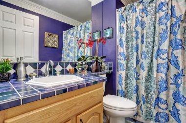 Interior design of blue bathroom
