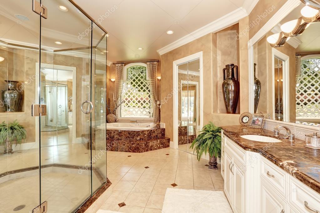 Bel intérieur de salle de bains en marbre de luxe dans la ...
