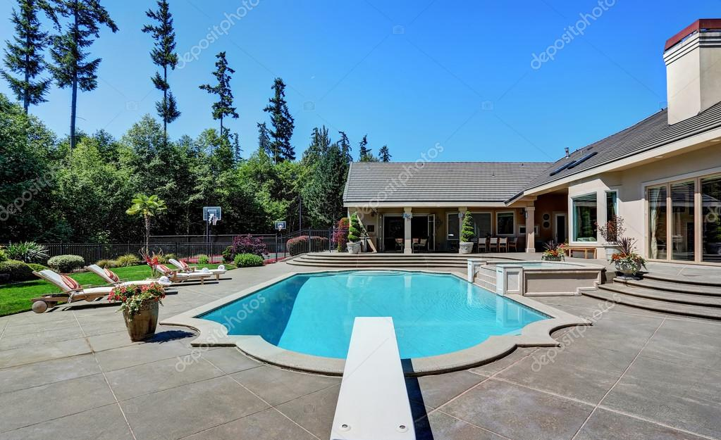 Great Backyard With Swimming Pool .American Suburban Luxury House U2014 Stock  Photo