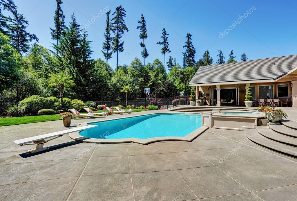 Elegant Great Backyard With Swimming Pool . American Suburban Luxury House U2014  Fotografia De Stock