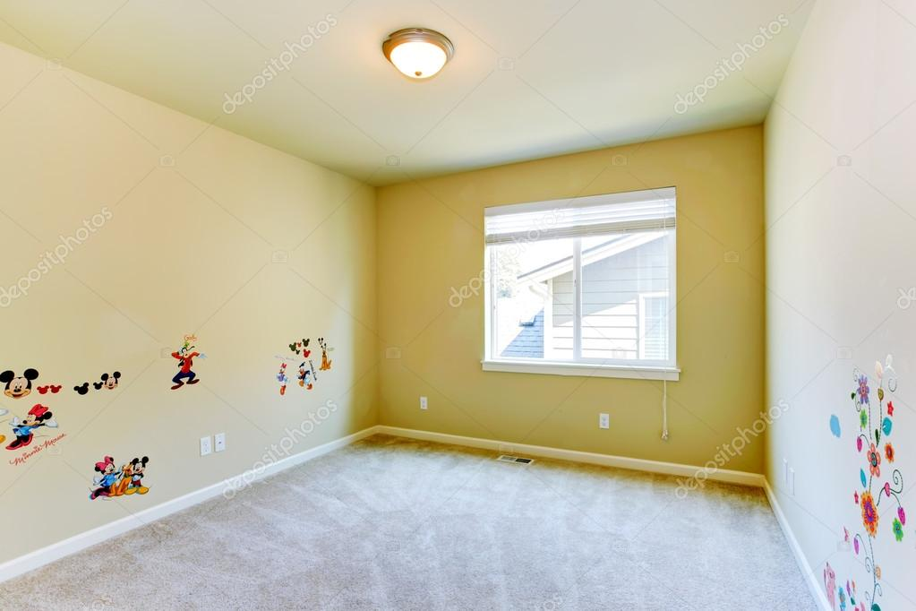 Empty Kids Room With Painted Walls Stock Photo