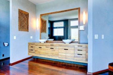 "Картина, постер, плакат, фотообои ""шкафы для ванной комнаты с раковинами и большим зеркалом зеркало раме зеркала настенное круглые"", артикул 52125873"