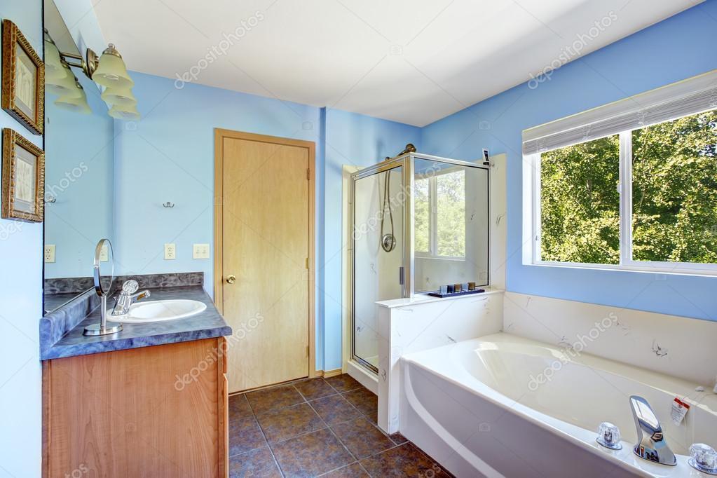 salle de bains très lumineuse de couleur bleu clair — Photographie ...