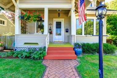 Classic american house with flag