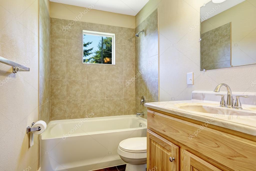 Empty Bathroom With Tile Wall Trim And, Bathroom Wall Trim