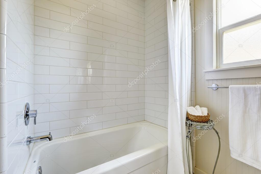 Semplice bagno con mattonelle parete trim e vasca da bagno u foto