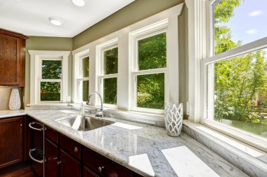 Kitchen cabinet with marble top and sink