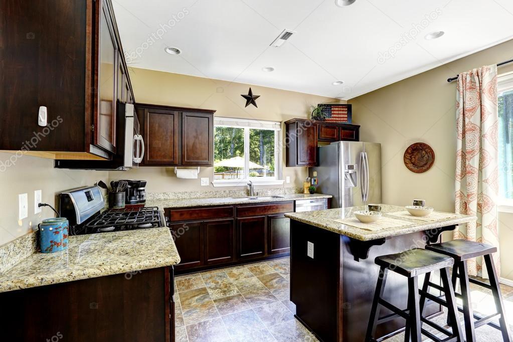 Dark Brown Cabinets With Granite Tops, Kitchen Pictures With Dark Brown Cabinets