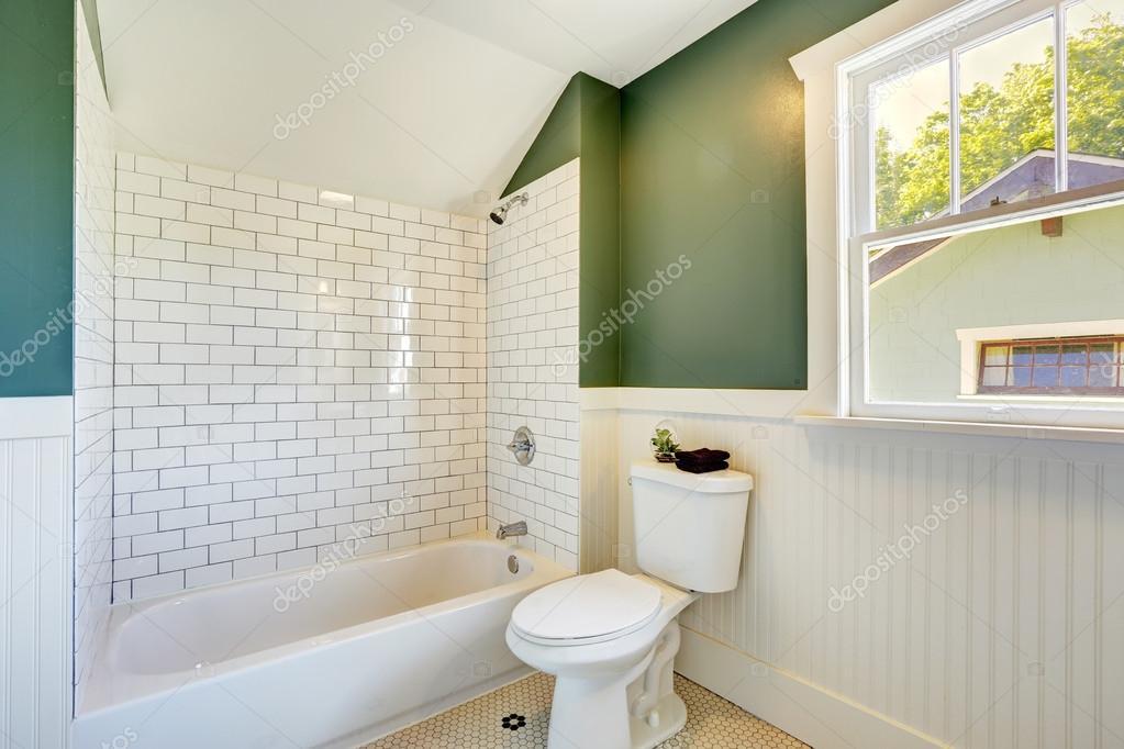 Intérieur de la salle de bains avec mur blanc et vert ...