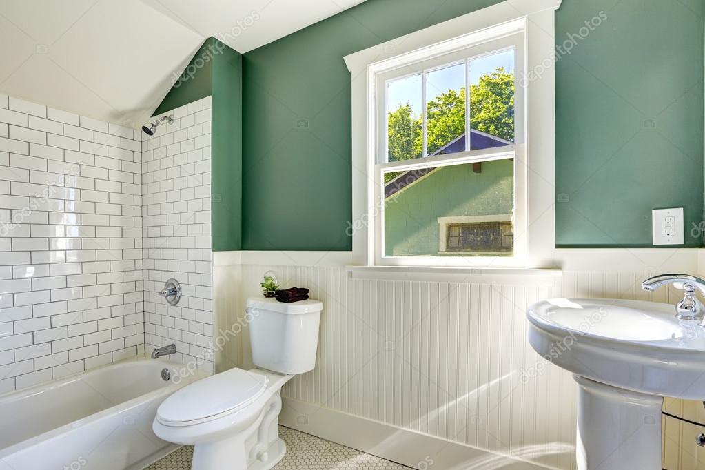 White And Green Wall Trim Stock Photo, Bathroom Wall Trim