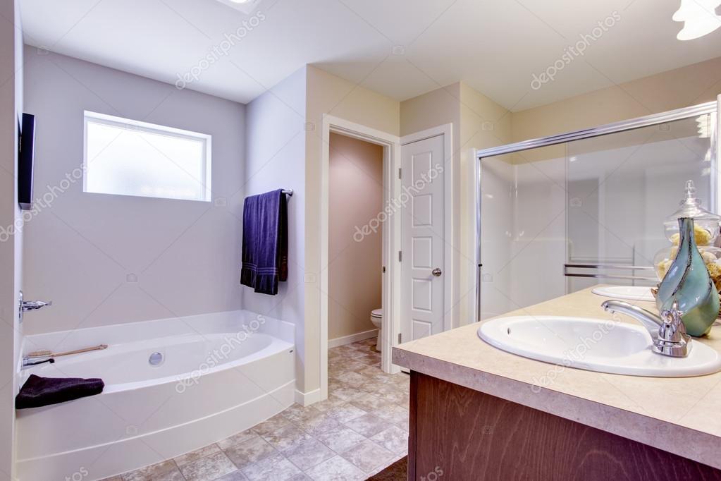 Vasca Da Bagno Con Vetro : Rinfrescante bagno bianco con vetro porta e vasca da bagno u foto