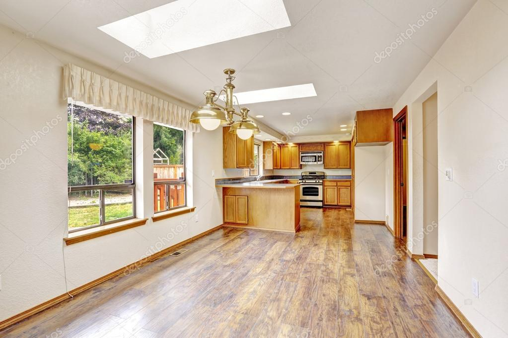 Empty House With Open Floor Plan Living Room And Kitchen