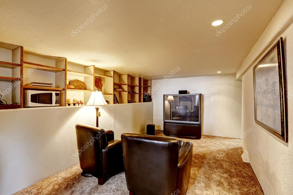 Small Basement Room Interior. Two Leather Chairs And Tv. U2014 Photo By  Iriana88w
