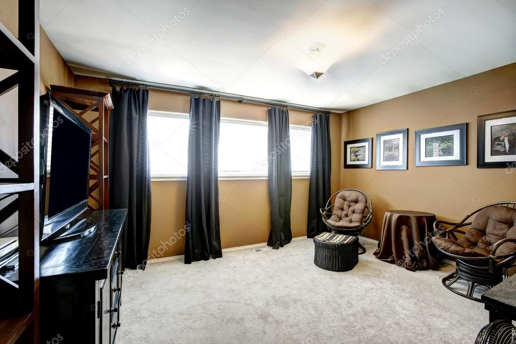 Brown Room Interior With Black Curtains, Black And Brown Curtains
