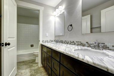Bathroom vanity cabinet with  white granite top