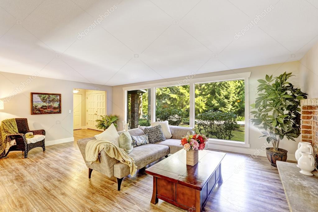 ampio soggiorno luminoso con parete di vetro decorato con pianta ... - Soggiorno Luminoso