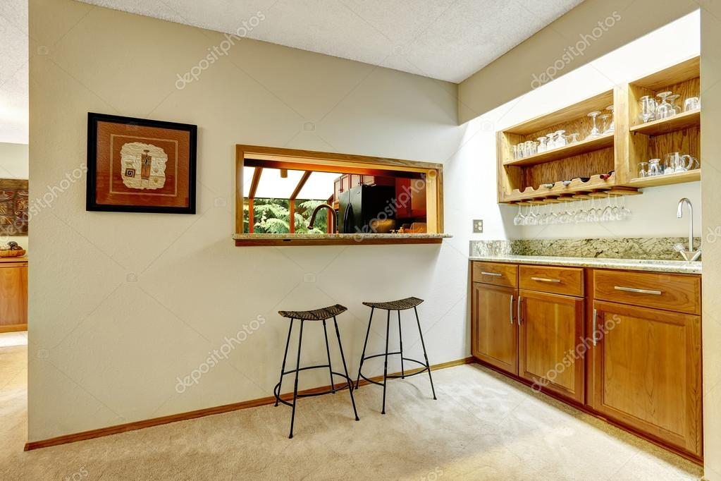 Bar counter top in the wall between kitchen and dining area — Stock ...