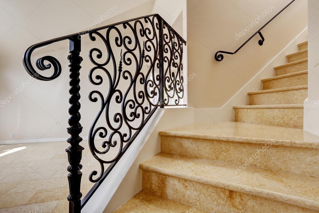 escalier de marbre avec balustrade en fer forg noir photographie iriana88w 54317875. Black Bedroom Furniture Sets. Home Design Ideas