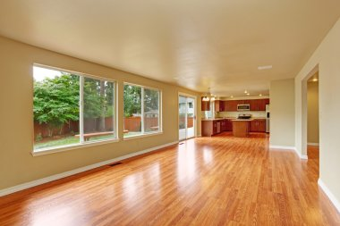 Empty house interior with new hardwood floor