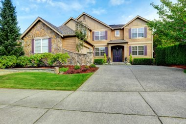 Luxury house exterior with stone trim
