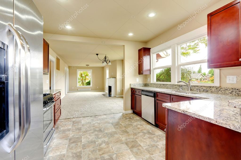 Bright Kitchen Room With Granite Tops And Burgundy Cabinets U2014 Stock Photo  #59734721