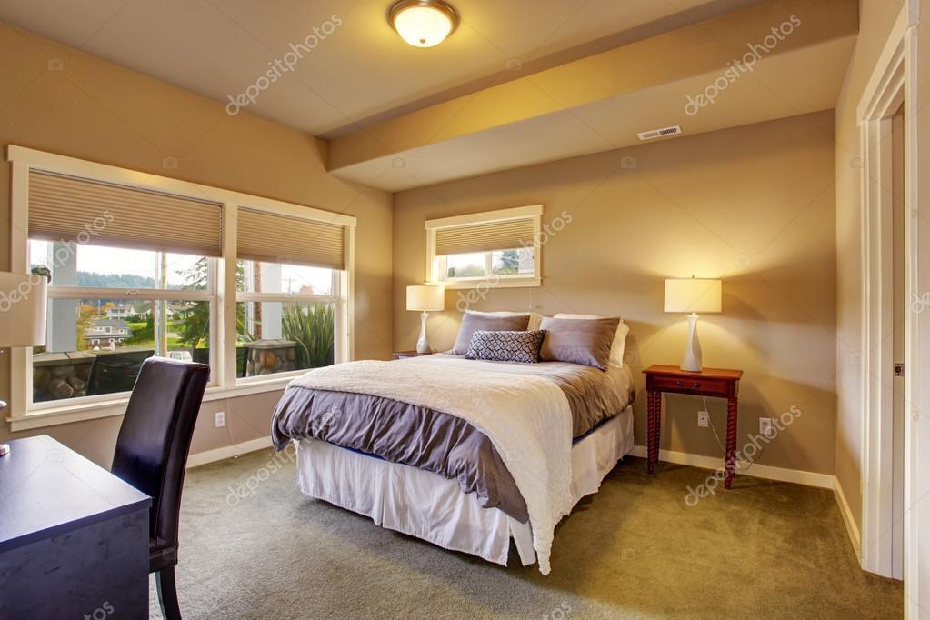 Schönes Schlafzimmer mit Teppich und windows — Stockfoto © iriana88w ...