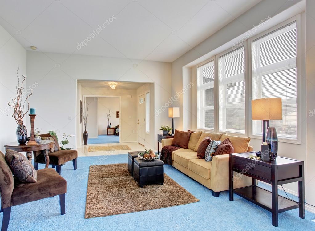 Georgous Living Room With Bright Blue Carpet Stock Photo Image By Iriana88w 76499681