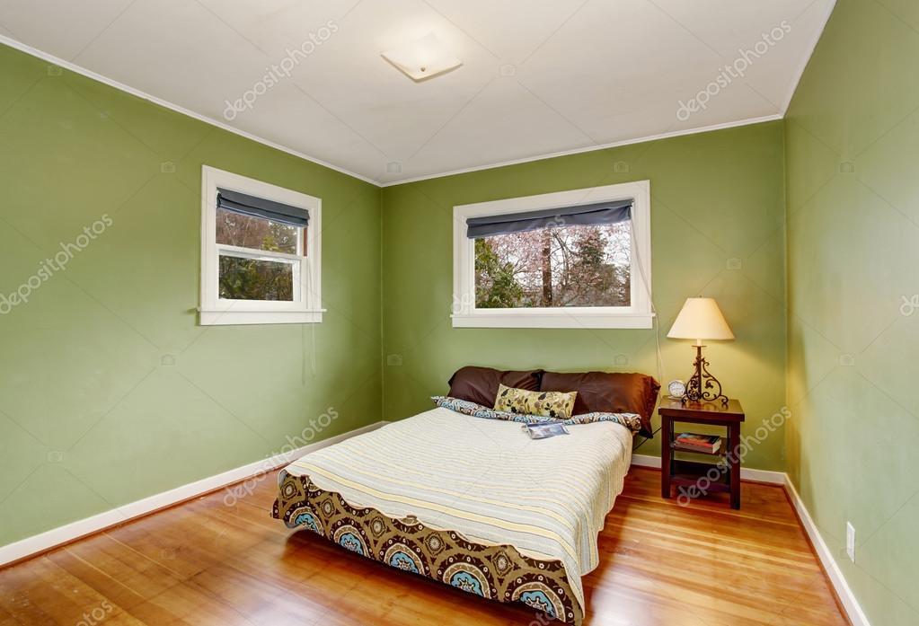 Boho Themen Schlafzimmer Mit Grünen Wänden Und Holzboden U2014 Stockfoto