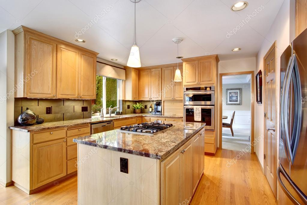 State Of The Art Kitchen With Hardwood Fl Oor And Glossy Counter U2014 Stock  Photo