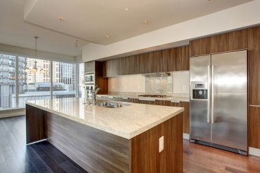 perfect modern kitchen with hardwood floor.