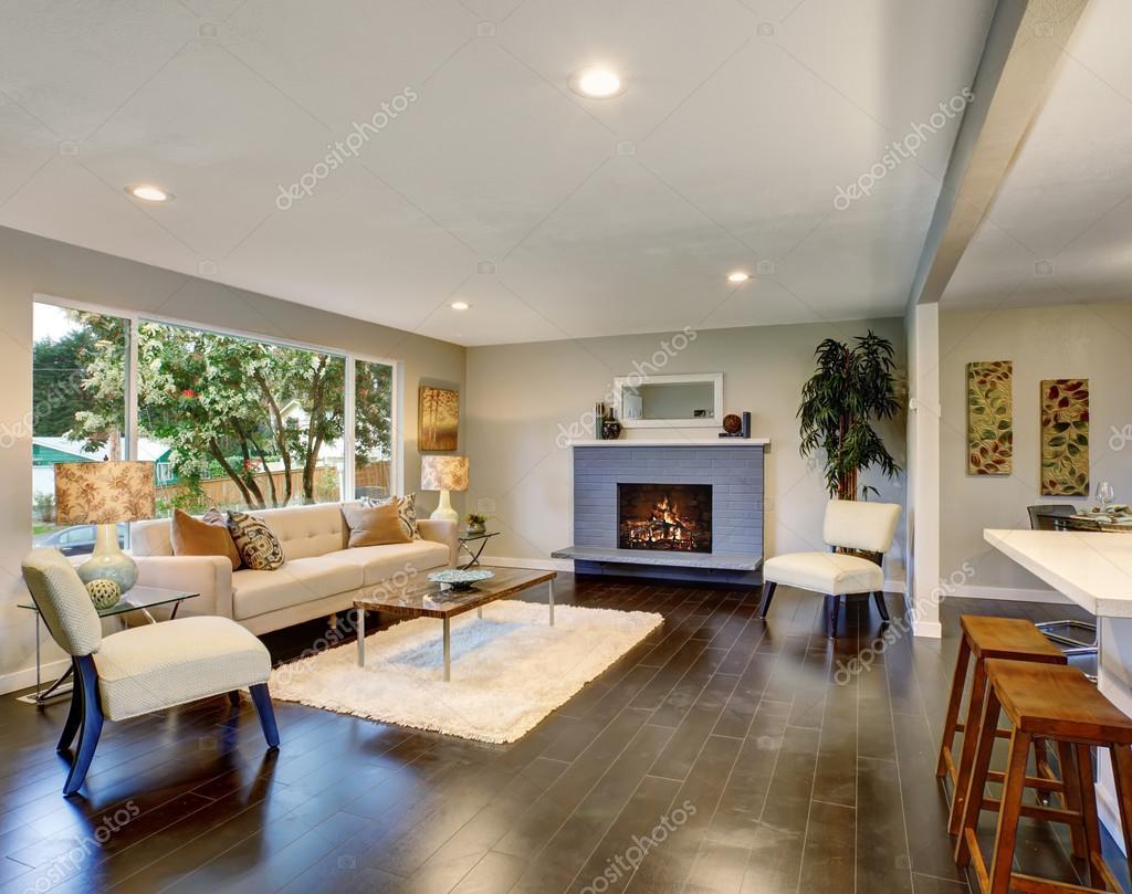 Modernen Wohnzimmer Mit Dunklen Holzboden U2014 Stockfoto