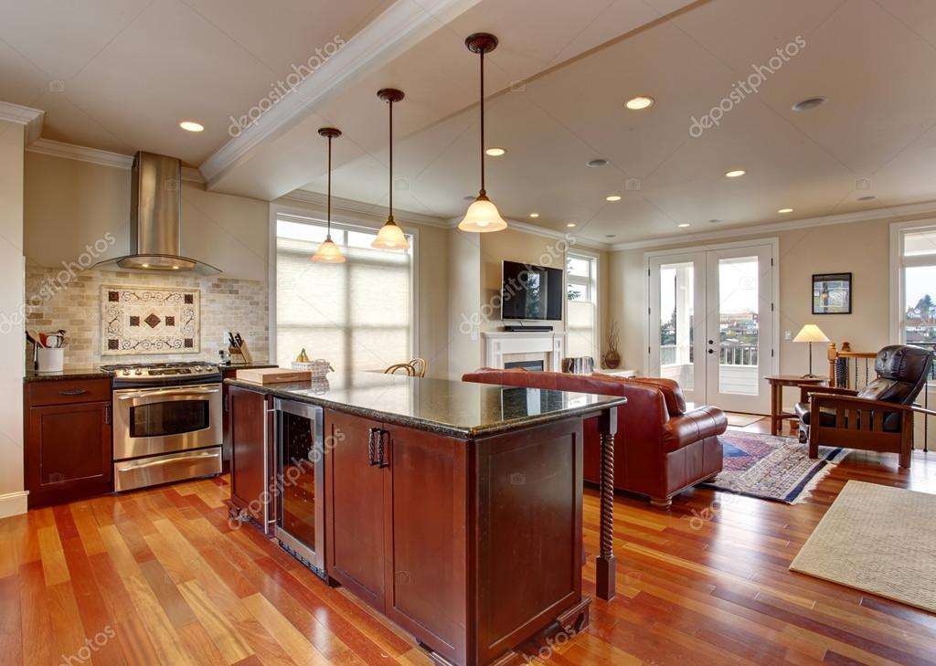 State Of The Art Kitchen With Deep Stained Wood. U2014 Stock ...