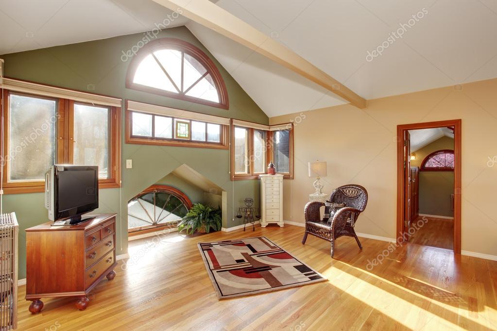 Fußboden Im Schlafzimmer ~ Vintage loft stil schlafzimmer mit tv und hartholz fußboden