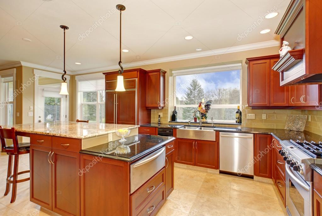 State Of The Art Kitchen With Tall Island. U2014 Stock Photo #79173332