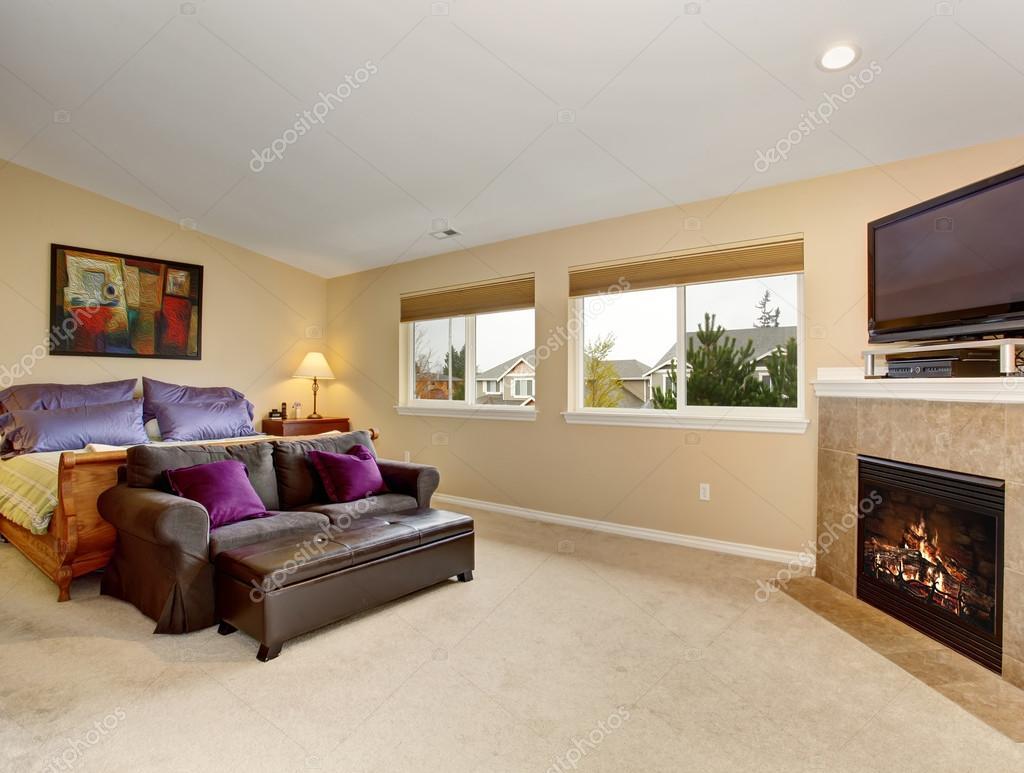 Großes Schlafzimmer mit Kamin und tv — Stockfoto © iriana88w #79408964