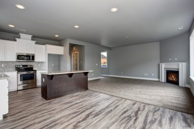 Modern and completely gray interior of home.